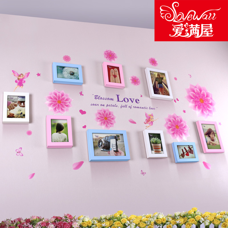Love houseful upof pink elf 9 box creative combination photo wall wood frame wall lying room small fresh photo wall