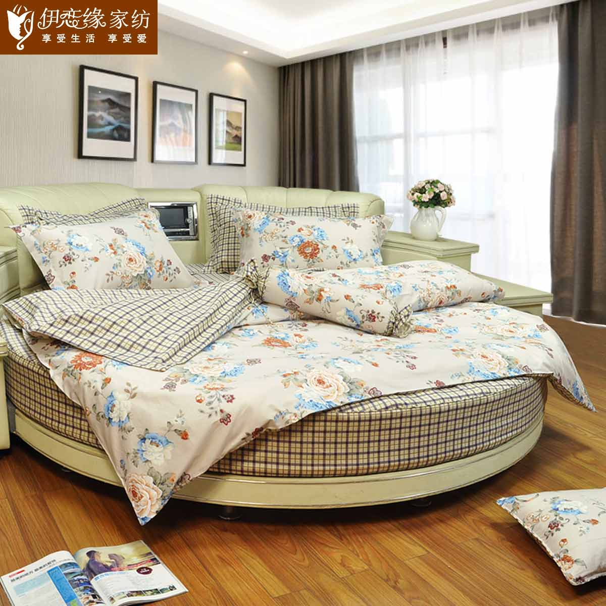 Love iraqi edge custom casual pastoral style retro round round bed bedding bed li family of four warm fragrant fleeting
