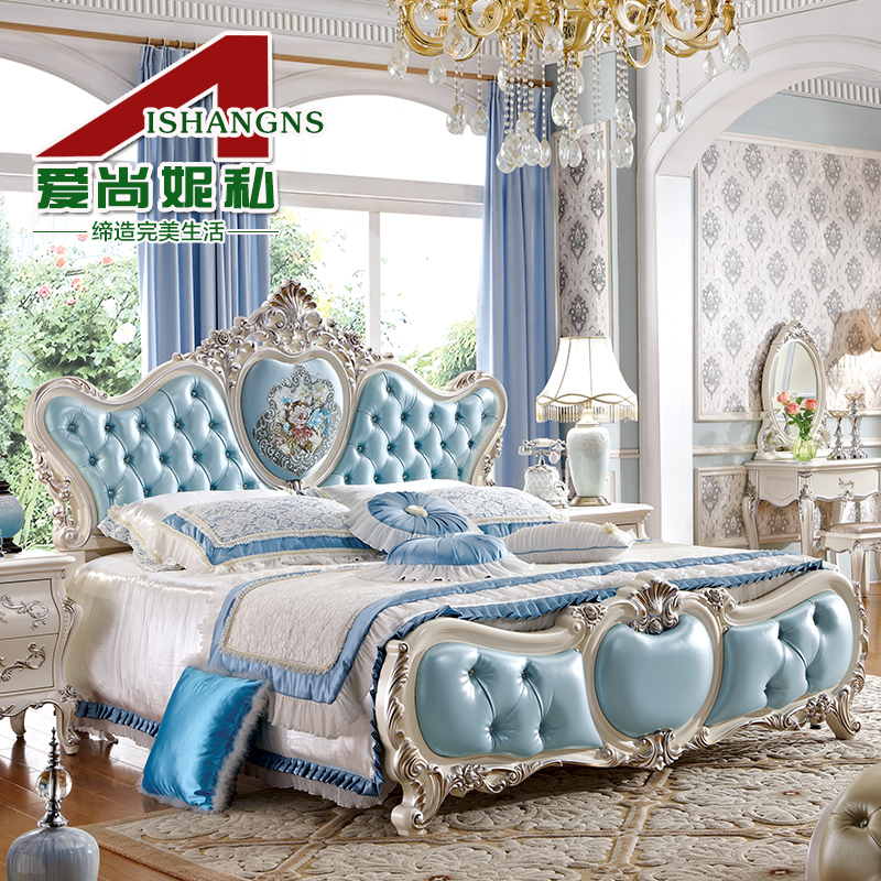 Love is still ni private european pastoral bedroom furniture quality 1.8 m double leather bed leather bed wood bed marriage bed 8022