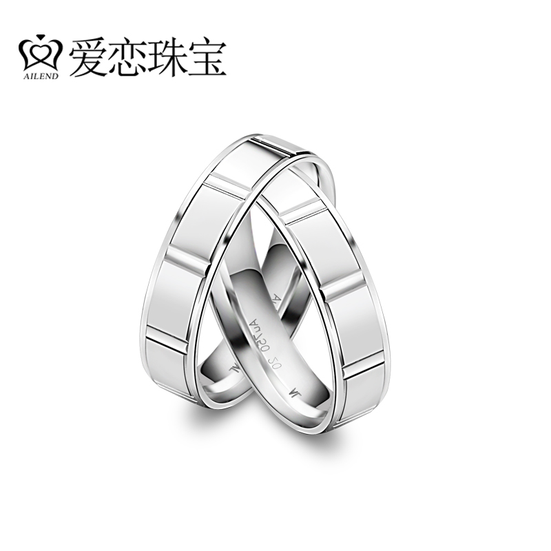 Love jewelry k white gold rings couple rings rings male and female models fashion simple wedding gift 37 ℃ series