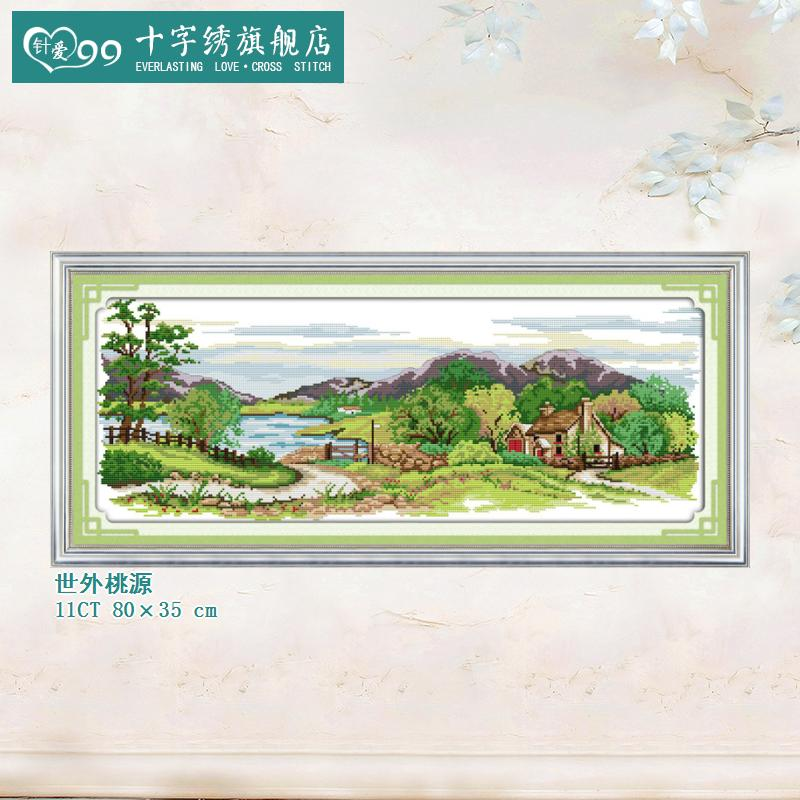 Love needle 99 paradise beautiful landscape woods cabin clear printing stitch stitch landscape painting the living room series