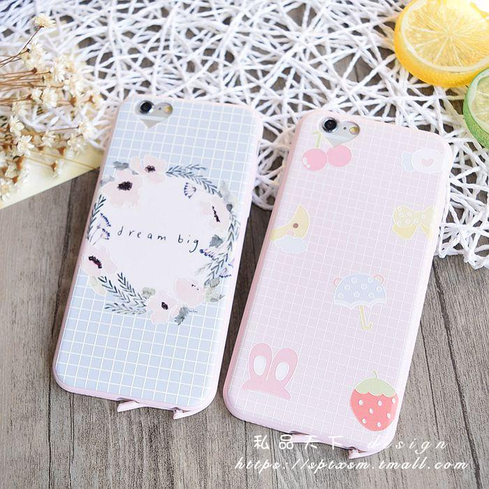 Love pink hole iphone6Splus whole package silicone phone shell apple 5.5 thin soft shell fresh plaid