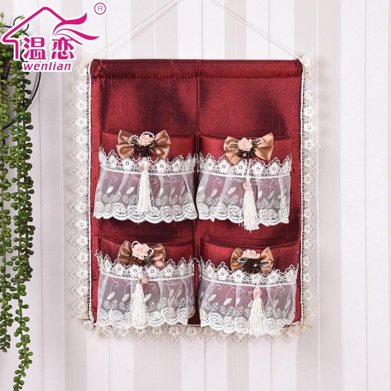 Love warm cloth bag storage bags hanging wall storage bag storage bag bag pastoral lace cloth bag