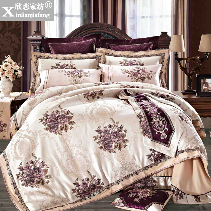 Love welcomes european villa software installed home bedding textile silk satin jacquard thick normally cover ten sets