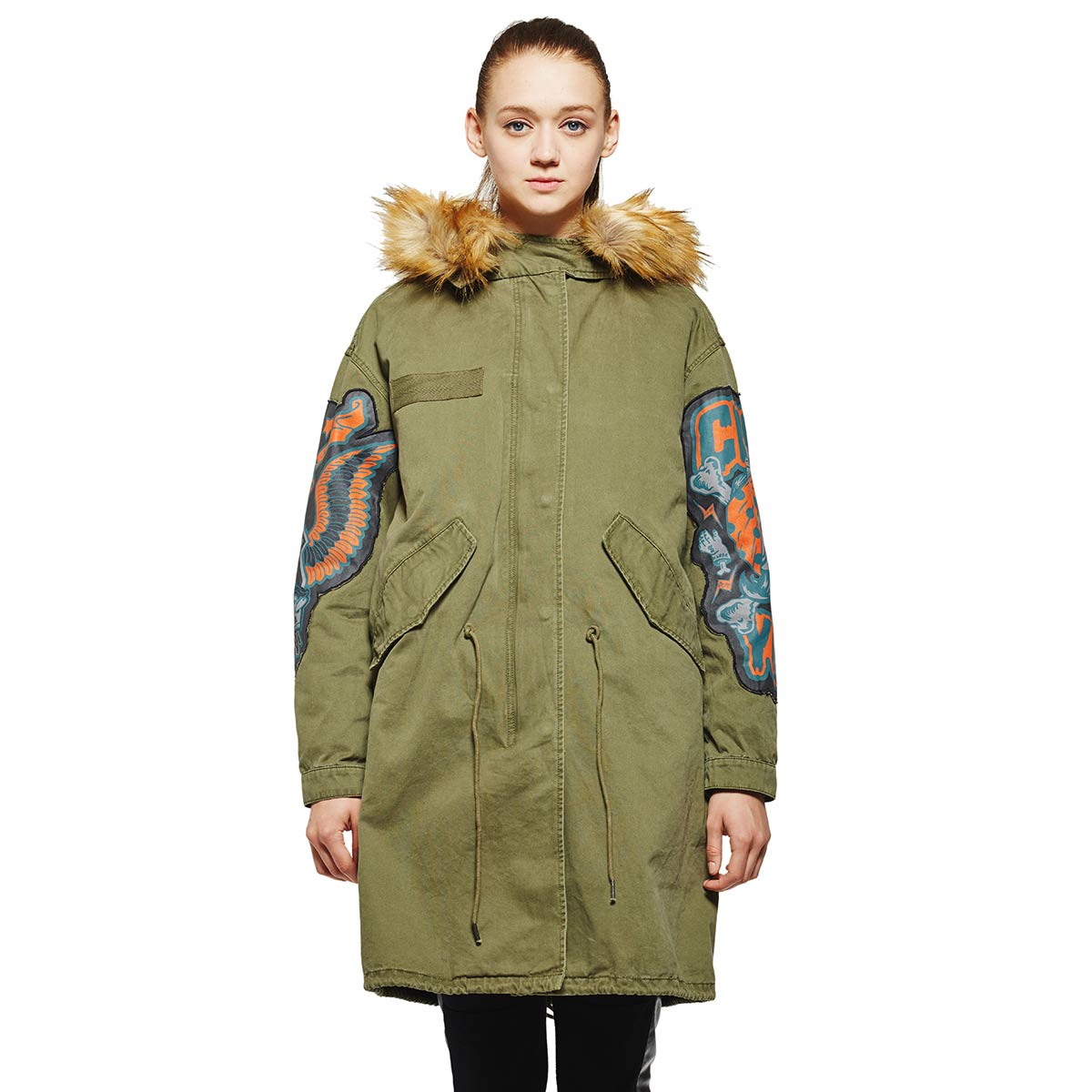 LOVEIS2015 winter new personality wild army green windbreaker coat long section of woven cloth coat jk205