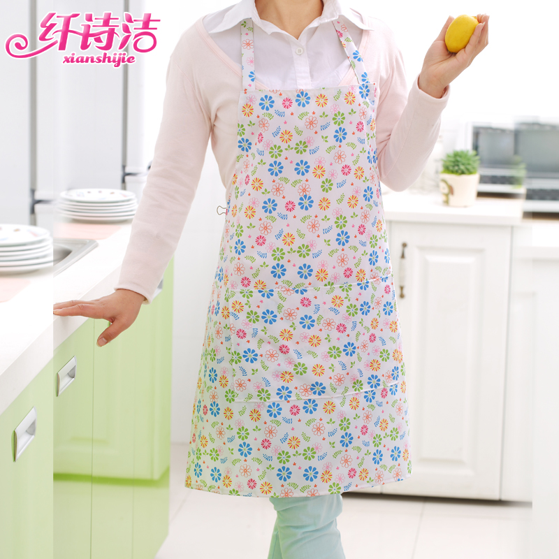 Lovely home fashion princess kitchen apron sleeveless printing pvc waterproof aprons and oil pollution thick