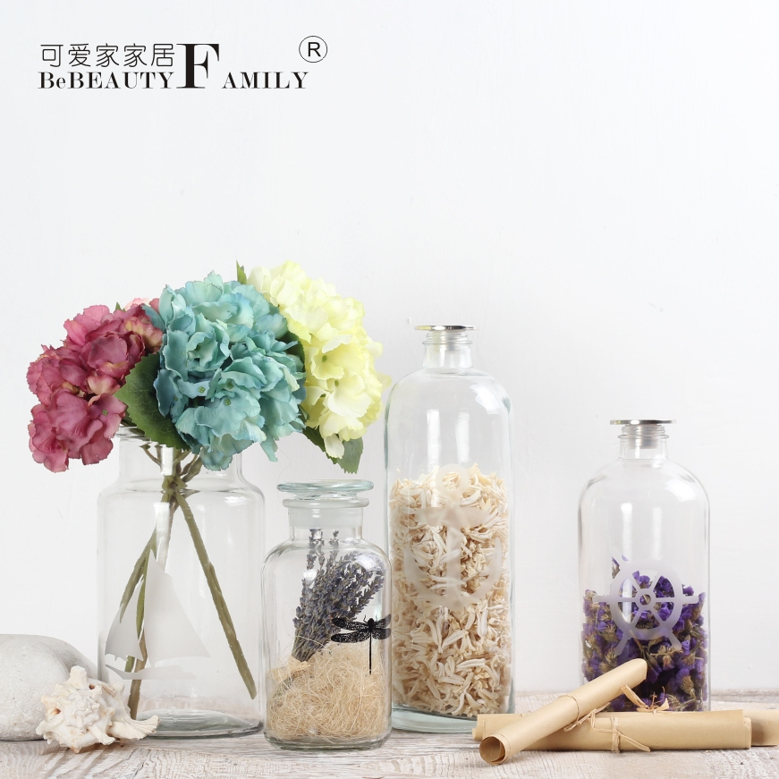 Lovely home simple and transparent glass bottles sealed storage bottle wishing bottle vase decorated ornaments home accessories