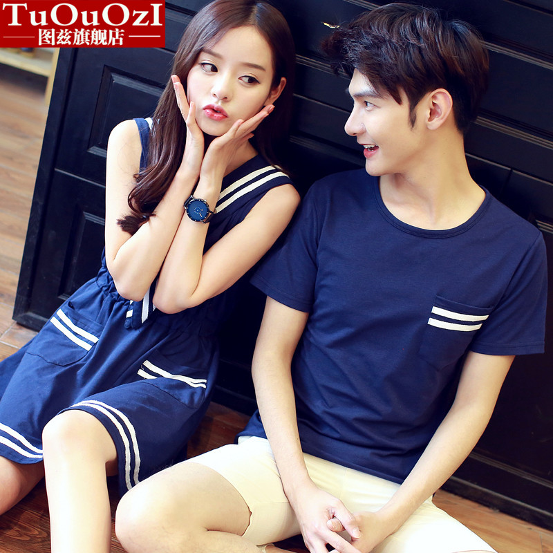 Lovers summer 2016 new korean navy wind female dress child short sleeve t-shirt class service shirt male students