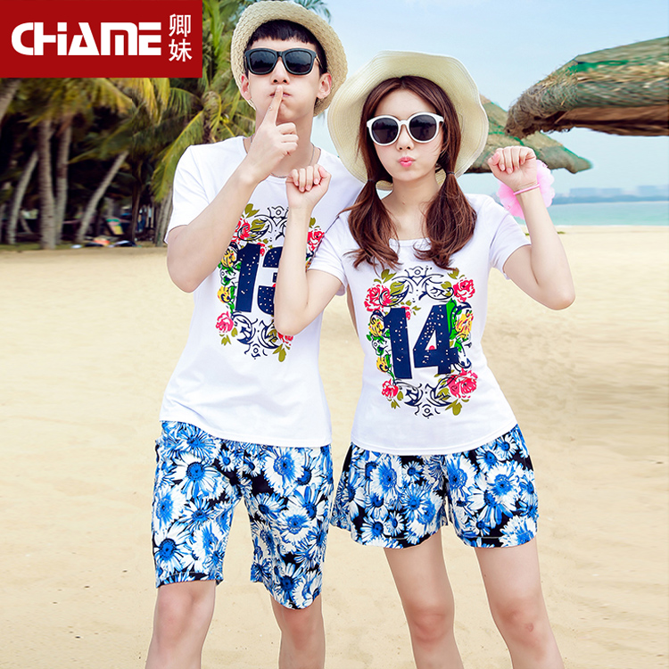 Lovers summer 2016 new korean version of slim was thin seaside resort beach lovers short sleeve female culottes suit