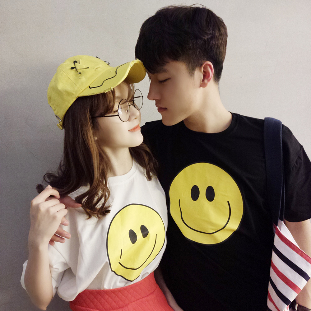 Lovers summer 2016 new men short sleeve t-shirt south korea smiley printing loose sleeve lovers student class service