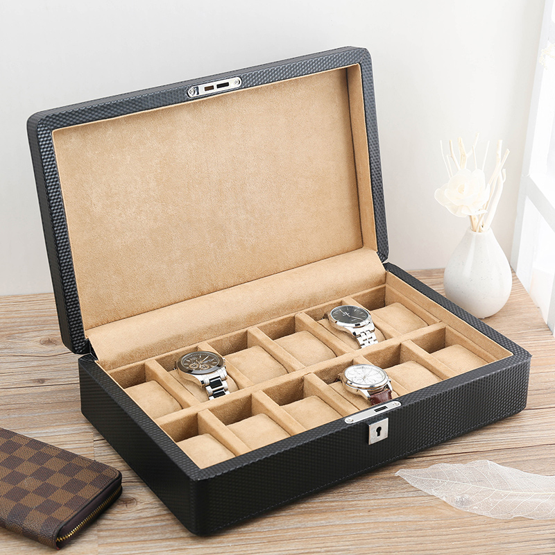 Lowe carbon fiber leather watch box wooden watch box 12 mounted mechanical watch display box collection box storage box with lock