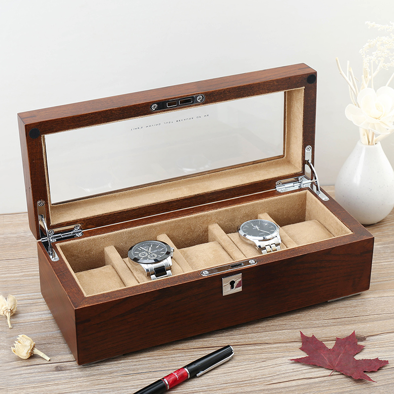 Lowe old purple elm elm solid wood five loaded skylight watch box watch mechanical watch collection box storage box with lock