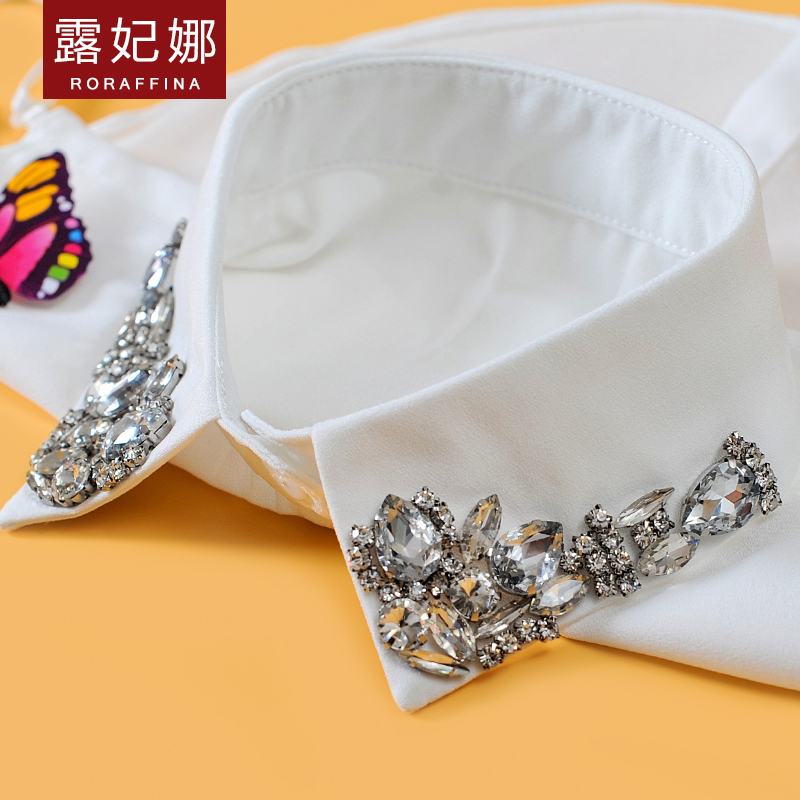 Lu fei na new winter 2016 korean women wild fake diamond collar decorative collar sweater bottoming shirt