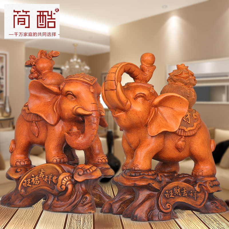 Lucky elephant ornaments one pair of home living room decorations company creative office feng shui ornaments crafts