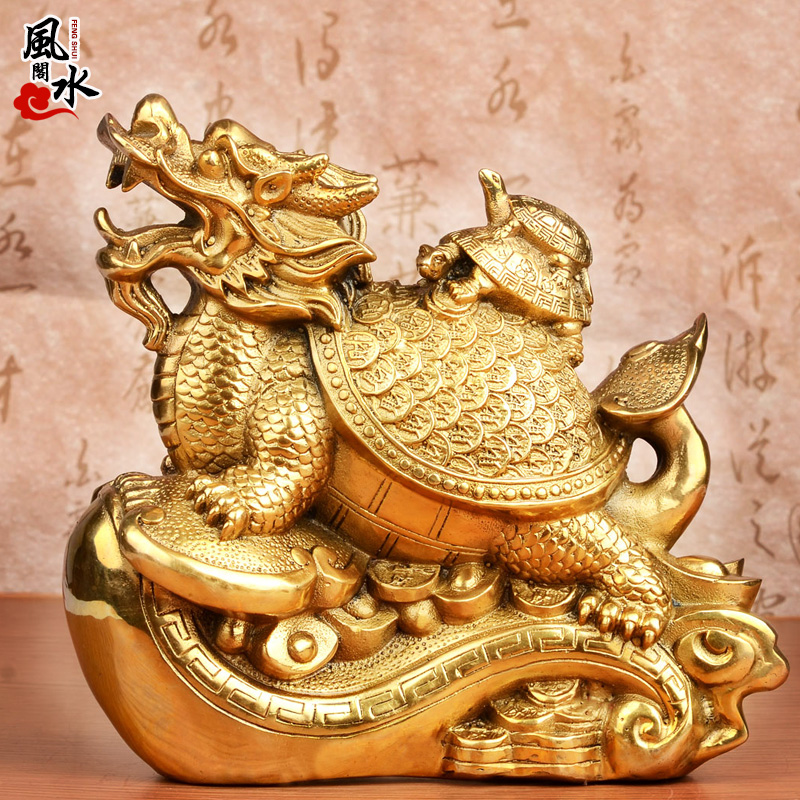 Lucky feng shui court copper wishful three generations turtle dragon turtle turtle leading feng shui ornaments ornaments home crafts jewelry