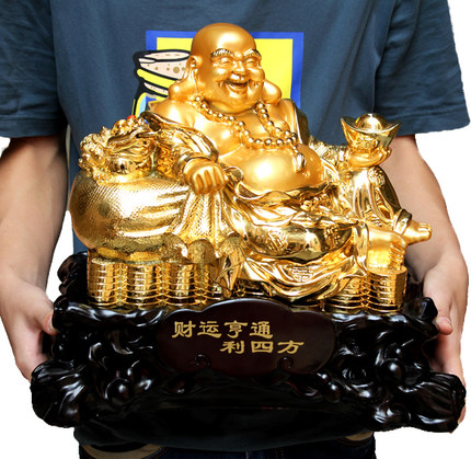 Lucky opening laughing maitreya buddha buddhist feng shui home furnishings foyer desk ornaments resin craft supplies