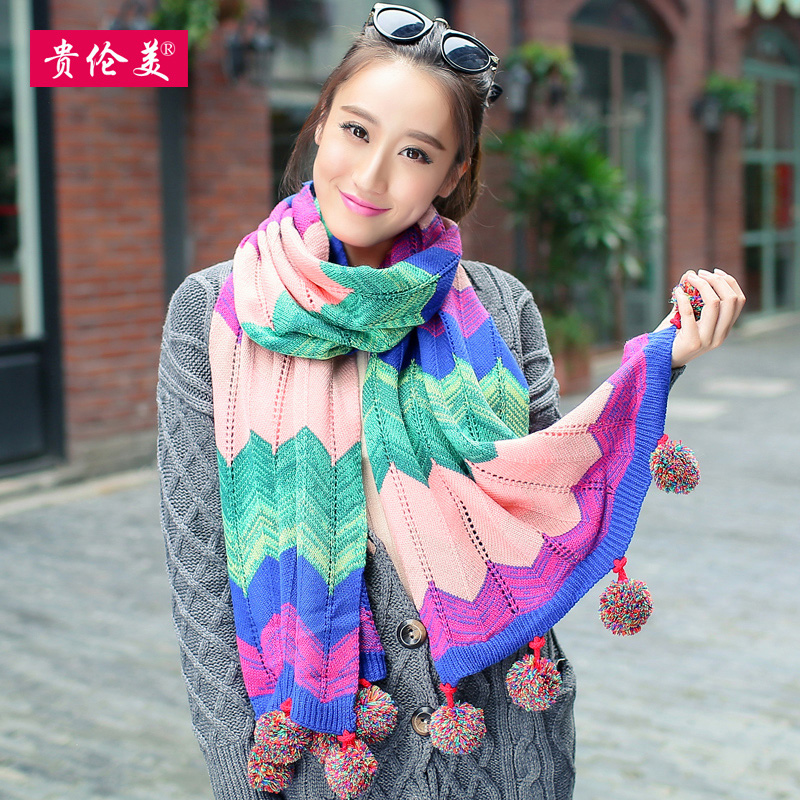 Lun mei expensive scarves korean female winter warm wool scarf knitted scarf winter scarf ms. colorful balls