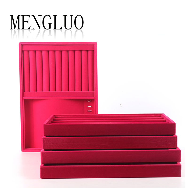 Luo meng plush rose suede bracelet jewelry storage box 12 grid display tray ring disc earrings jewelry display tray