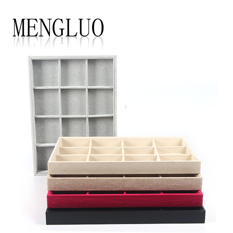 Luo meng suede jewelry storage box 12 grid jewelry display tray jewelry display tray bracelet bracelet box