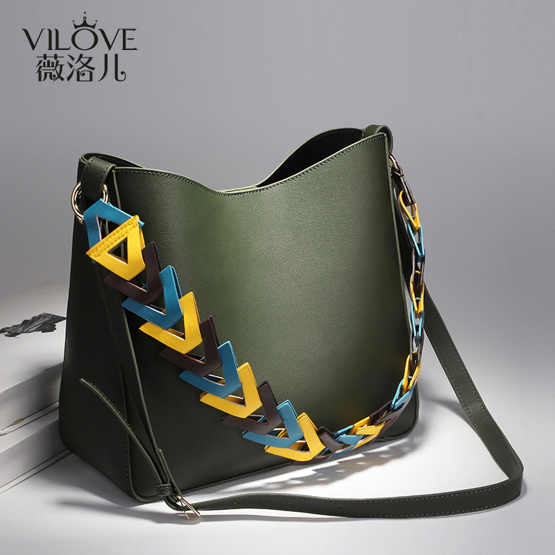 af7c5a04a0 Get Quotations · Luo wei children fashion simple color shoulder strap  shoulder bag female bag big bag large capacity