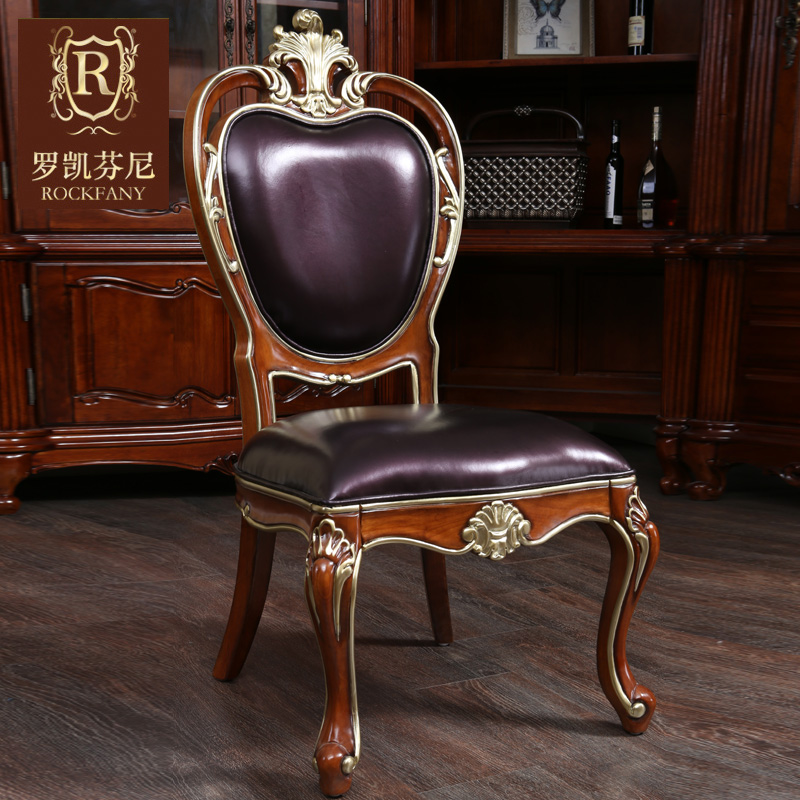 Luokaifenni american country furniture leather dining chairs neoclassical european fabric dining chair f