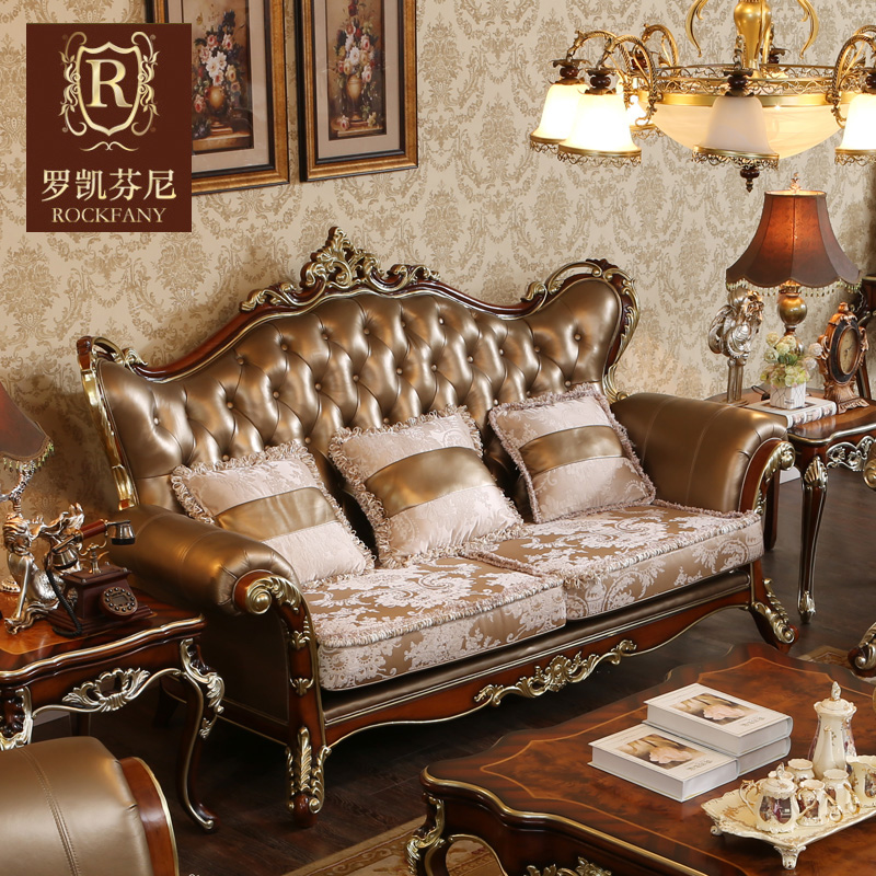 Luokaifenni american neoclassical wood sofa leather sofa living room combination of european luxury villa furniture a
