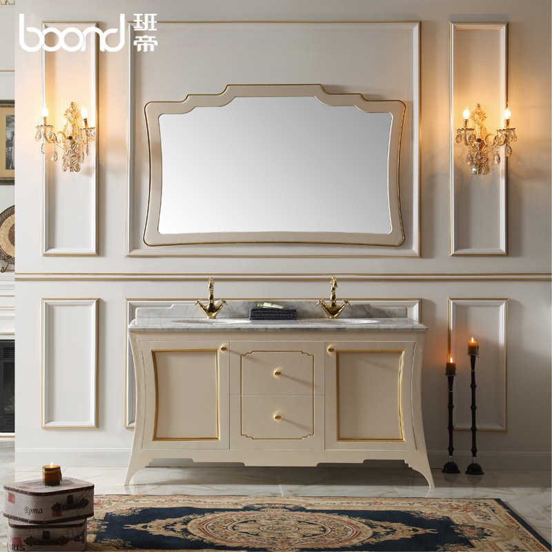 Get Quotations · [Luxury] Custom Italian Imported Natural Rubber Wood Solid  Wood Bathroom Cabinet Marble Countertops 3316