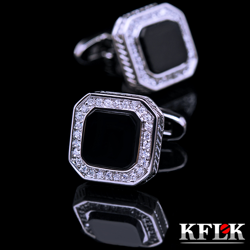 Luxury gift box kflk upscale rhodium cufflinks french shirt cufflinks for men cufflinks black onyx diamond cufflinks