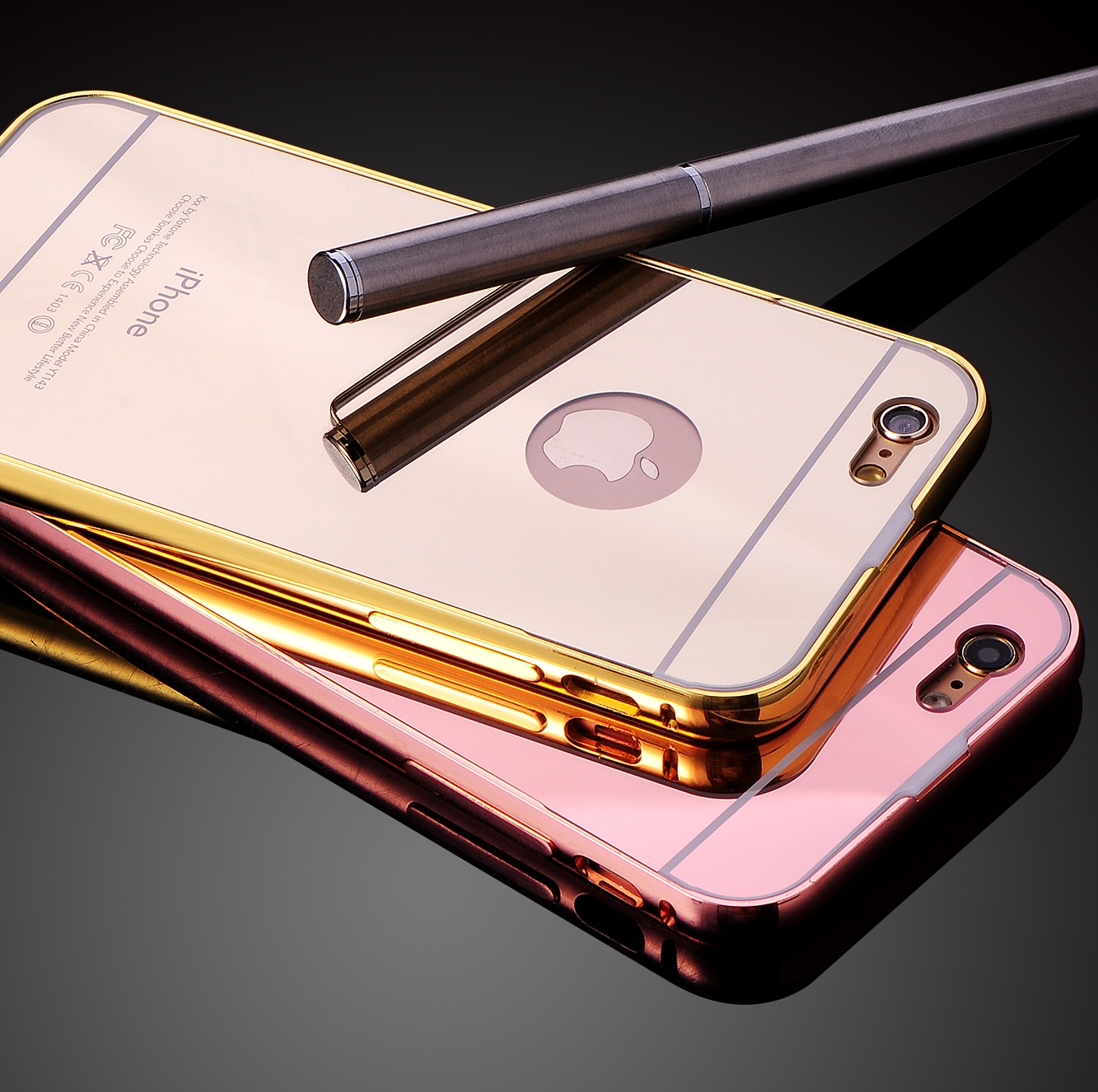 Luxury mobile phone shell apple iPhone6splus mirror mobile phone sets plus metal frame protective sleeve cover
