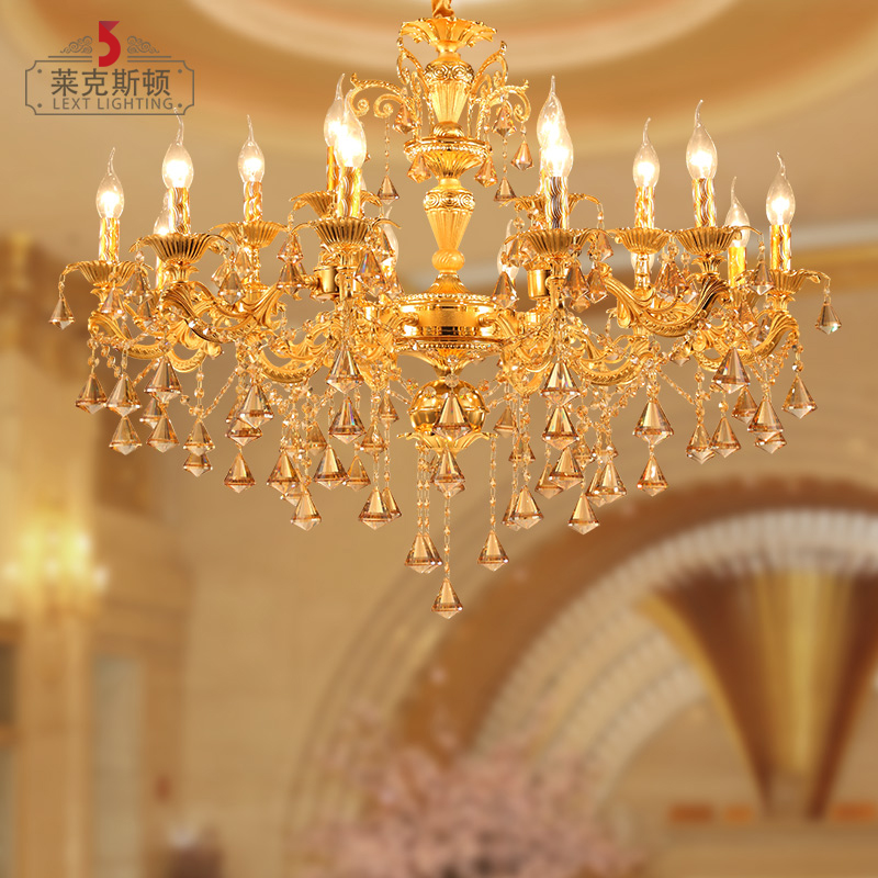 Luxury zinc alloy european atmosphere restaurant lights candle hotel penthouse floor living room chandelier crystal lamp hall 962