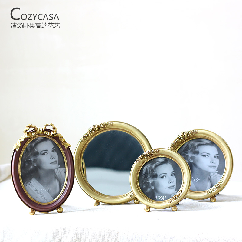 Lying fruit soup french 5 inch/6 inch oval euclidian metal edge retro photo frame wedding photo frame swing bench
