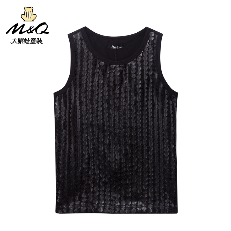 M & q big eyes frog kids boys korean summer round neck vest big virgin child fashion casual vest
