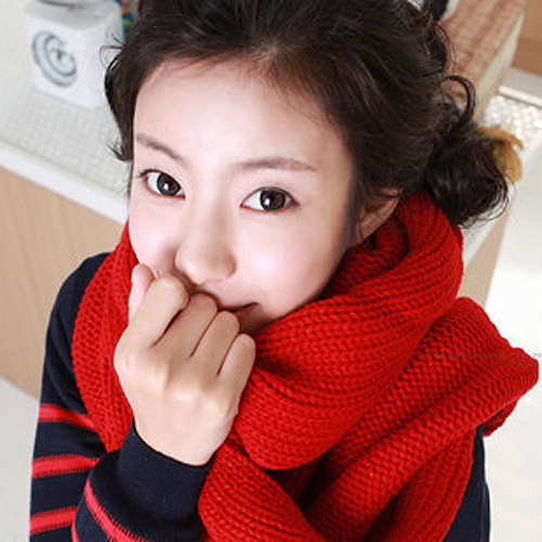 M buy korean autumn and winter long solid couple warm thick wool scarf/scarf unisex