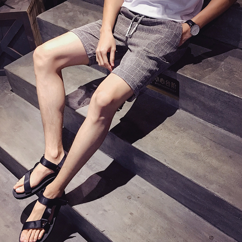 Machi island summer slim men's casual plaid shorts shorts beach pants shorts fifth wave of adolescent years hollom