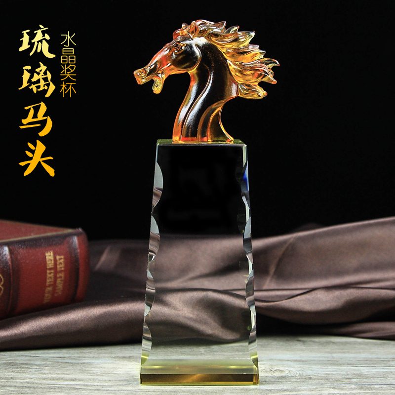 Madaochenggong horse crystal trophy custom glass trophy plastic trophy company souvenirs free lettering