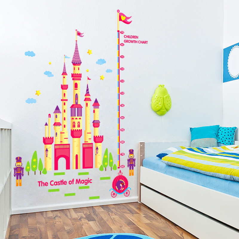 Magic castle bedroom cartoon children's room measuring height stickers living room wall stickers baby nursery klimts
