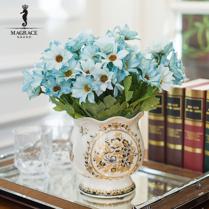 Magrace european retro crack ceramic small vase floral ornaments simulation model of american living room ornaments