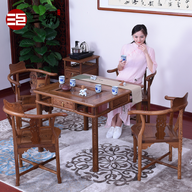 Mahogany furniture wenge wood tea table tea table antique furniture wood tea table tea table/tea table tea table 5 sets of triangular bayi