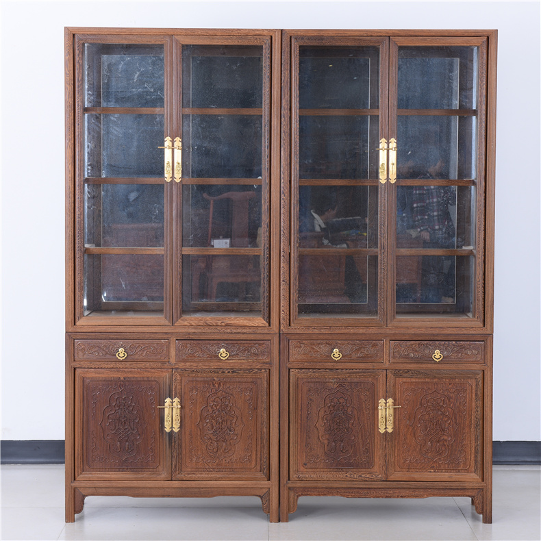 Mahogany wood furniture chinese ming and qing antique glass display cabinet glass showcase wenge wood display cabinet