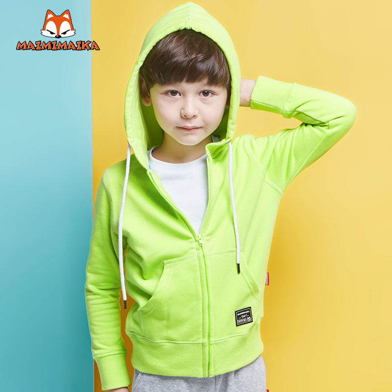 Maimi mccartney kids boys zip cardigan sweater coat korean version of the influx of big virgin girls autumn paragraph solid color coat