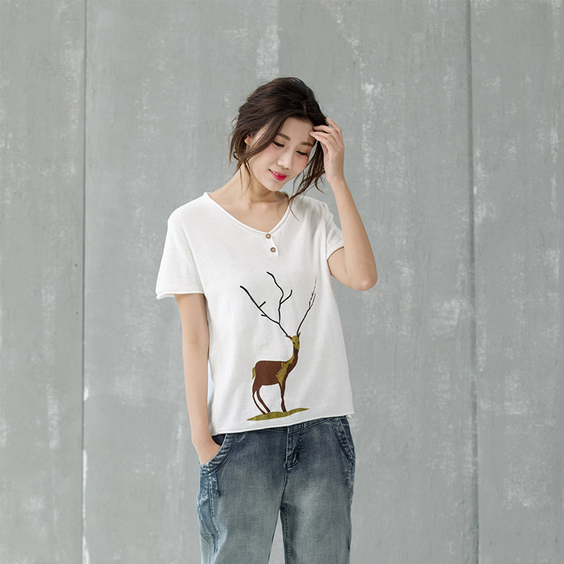 Mak su inner style cotton printing loose hedging short sleeve summer thin section needle woven shirt female 3 colors
