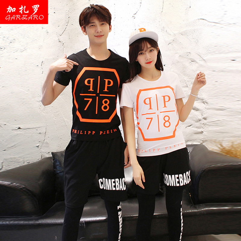 Male and female lovers summer 2016 korean version of casual short sleeve t-shirt shirt shorts sportswear suit student class service tide