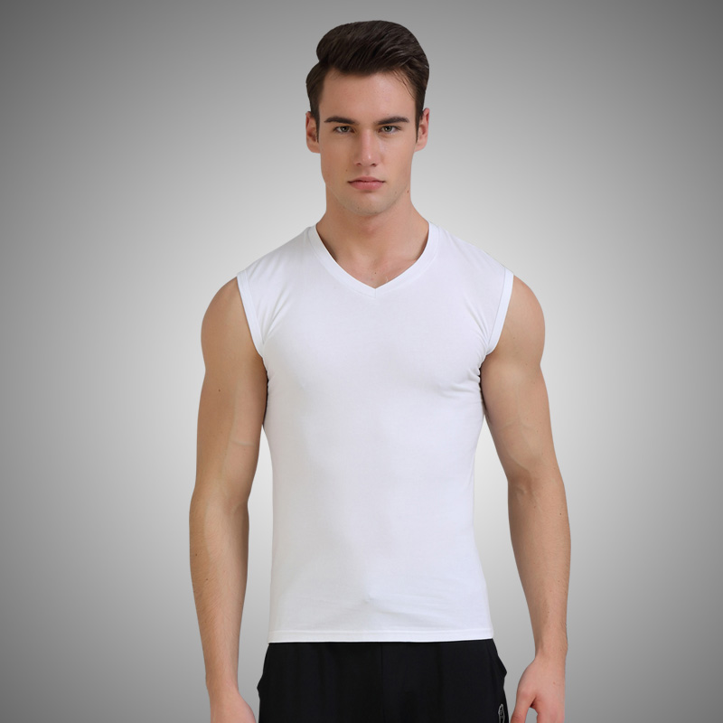 Male summer men's vest broad shoulders bottoming slim tight sleeveless t-shirt solid color cotton sports youth sleeveless waistcoat