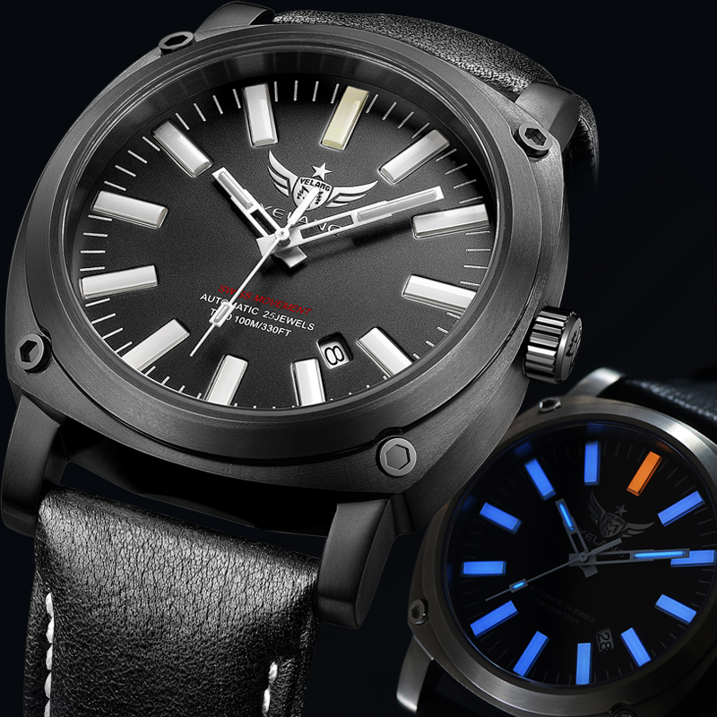 Male wolf army h3 self luminous automatic mechanical watch male table luminous waterproof outdoor sports diving watches tide