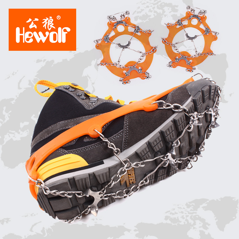 Male wolf outdoor snow mountaineering crampons slip shoe covers shoe nail climbing equipment snow claw chain 8 tooth stainless Ice