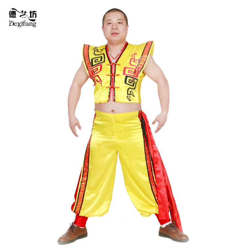 Male yellow ethnic clothing/han clothing/younger clothing/dance clothing/stage clothes clothing/performance clothing