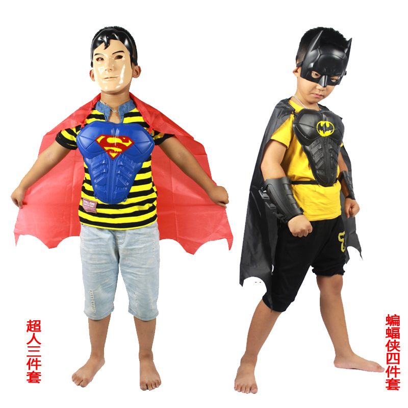 Man cheung cos halloween masquerade children's clothing children's superman mask cuirass cloak three sets
