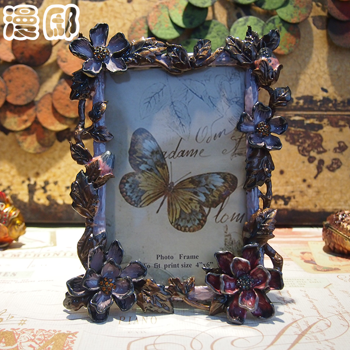Man di american retro purple flowers european living room ikea swing sets creative photo frame 6 inch alloy photo frame children