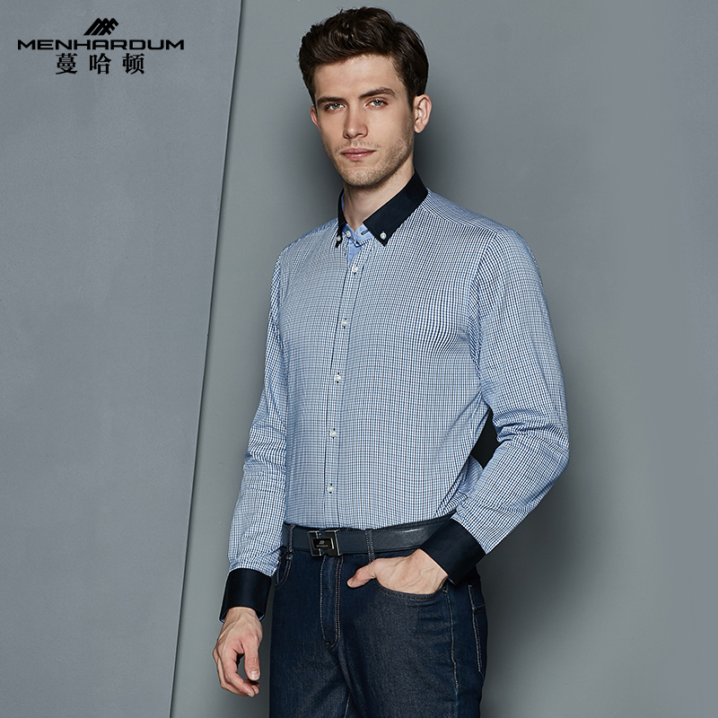 Man hatton 2016 fall new business casual shirt slim plaid cotton shirt men long sleeve cotton shirt