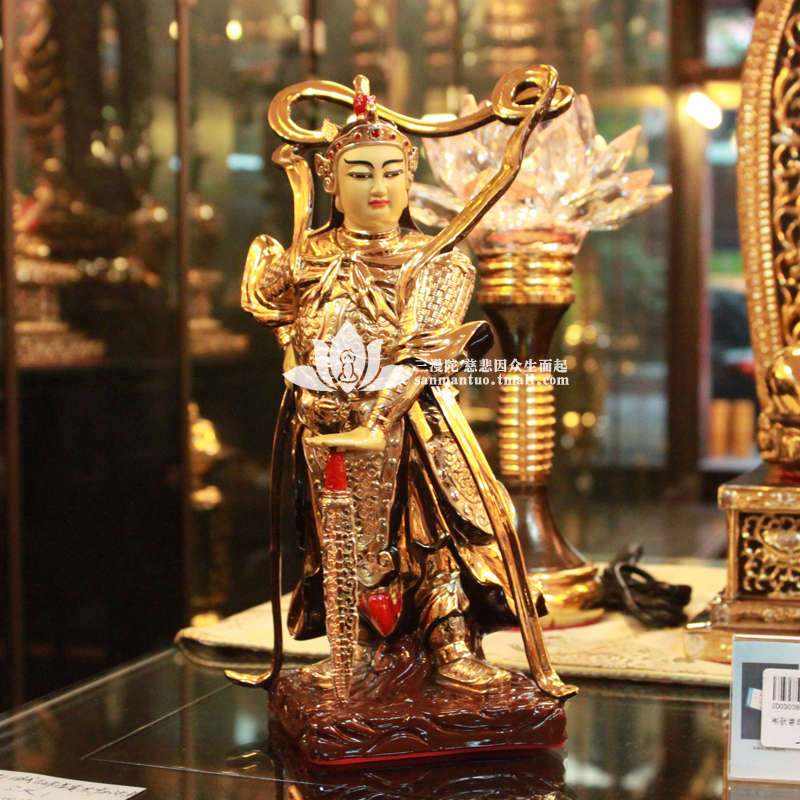 Man tuo three taiwan copper gilt copper buddha statues vedic dharma bodhisattva ornaments height of about 29 cm